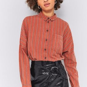 UO Rust Striped Button Down
